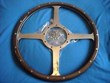 "CLASSIC 4 WOODRIM STEERING WHEEL MOTO-LITA 14"" FLAT 4 SPOKE  MGA  AC, MORGAN"