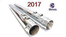 "MUTAZU 4"" Chrome Megaphone Slip-On Mufflers Exhaust 2017-up for Harley Touring"