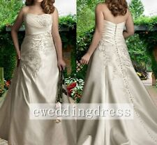 Plus Size New Strapless Beaded Embroidery Satin Wedding Dress Bridal Gown Custom