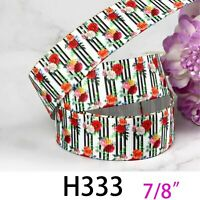 "7/8"" Grosgrain Ribbon Striped Rose Print Floral DIY Garment Accessories Wedding"