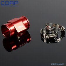 """Aluminum 38 mm 1.5"""" Water temp Gauge Sensor Adaptor + Clamps Red"""