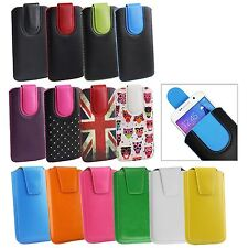 Stylish PU Leather Pouch Case Sleeve has Pull Tab Fits WRTogo Smartphones