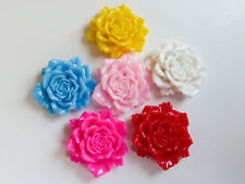 12 x Pretty Resin Flatback Flower Cabochons 24mm in Pink Red Yellow White & Blue