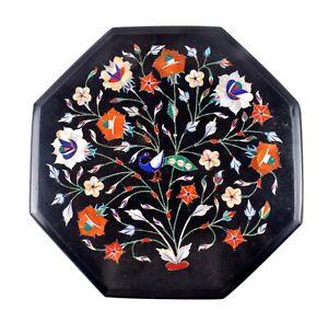 "12"" Black Marble Coffee Table Carnelian Stone Inlay Art Floral Mosaic Home Decor"