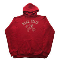 Vintage 80s Ball State University Hoodie Mens XL Russell College Basketball Red