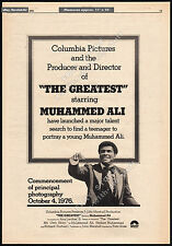 THE GREATEST__Original 1976 Trade Print AD promo / poster__MUHAMMAD ALI__1977