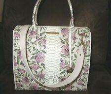 Brahmin Caroline Ivory Labyrinth Pink Floral Leather Satchel Handbag NWT $415