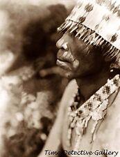 Coast Pomo Indian Man Wearing Headress, California - Historic Photo Print