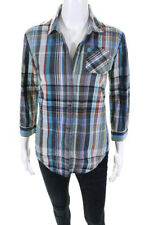 Elizabeth and James Womens Cotton Plaid Button Down Shirt Blue Size Small
