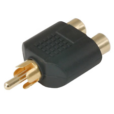 RCA Mono Male to 2 RCA Stereo Female Y Split Adapter