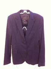 COUNTRY ROAD BLACK PIN STRIP WOOL BLEND CORPORATE JACKET SIZE: 12   NEAR NEW