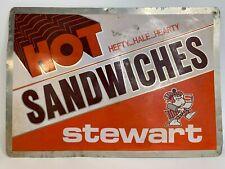 Vintage Metal Sign Hot Sandwiches Stewart 20�x14�