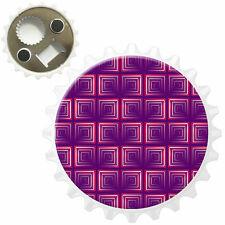 Mosaic Red White Square Pattern Bottle Opener Fridge Magnet