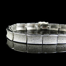 Certified 7.90Ct Round Cut Diamond Party Wear Men's Bracelet 14K White Gold