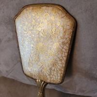 Vintage Hand Mirror Gold Flowers Floral Lace Brass Tone Dresser Vanity Victorian