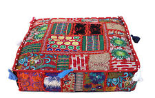 "22"" Vintage Square Floor Pillow Cushion Cover Cotton Decorative Indian Patchwork"