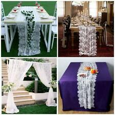 White Lace Table Runner Chair Sash Boho Wedding Party Tablecloth Table Cover