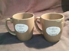 PAIR OF  CORELLE TAUPE STONEWARE COFFEE CUPS MUGS NEW