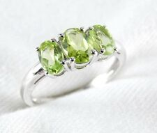 Genuine Peridot 3 Stone Ring 1.99ct in 925 Sterling Silver Size 6.5 List $240