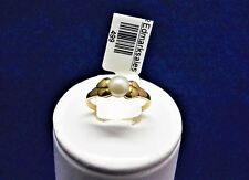 9CT SOLID YELLOW GOLD RING-5mm AKOYA JAPANESE CULTURED PEARL-1.2g