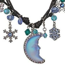 NEW KIRKS FOLLY SNOWFLAKE SEAVIEW MOONGLOW CORDED NECKLACE  ST/BLUE