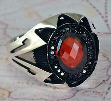 Turkish Ottoman Red Agate and Black Onyx Gemstone 925 Sterling Silver Men Ring