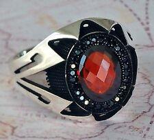 TURQUE ottoman rouge agate et onyx noir pierre précieuse en argent sterling 925