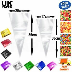CLEAR CELLOPHANE CELLO CONE SWEET BAGS LARGE CANDY KIDS PARTY FAVOUR GIFT TREATS