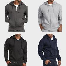 Mens Full Zip Up Hoodie Athletic Outerwear Fleece Zippered Hooded Sweater Jacket