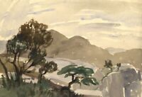 Myles Tonks RI RBA, Mountain View – Early 20th-century watercolour painting