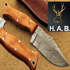 "HAB Custom Forged Full Tang 4.30""Fixed Blade Damascus steel Hunting Knife QN-407"