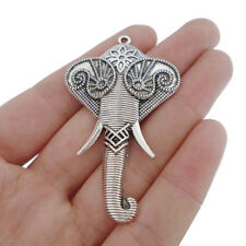 5 x Tibetan Silver Tone Large Elephant Head Charms Pendants for Jewellery Making