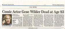 Gene Wilder 83 Obituary Wall Street Journal Willy Wonka Actor