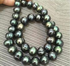 Charming Genuine 9-10mm baroque South sea Black green Pearl Necklace 18''