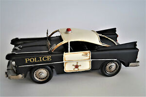 Modell Auto Oldtimer Polizei Auto Police Car 31 cm aus Blech Retro Stil