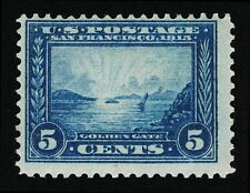 VERY AFFORDABLE GENUINE SCOTT #399 MINT OG H 1913 PERF-12 BLUE 5¢ PANAMA-PACIFIC