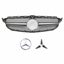 For Mercedes-Benz Grill W205 15-18 C63AMG Type Matte Black Grille W/ Camera Hole