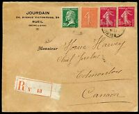 FRANCE 1928 RUEIL REG-COVER TO EDMONTON CANADA  WITH AIRMAIL LABEL ON REVERSE