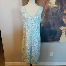 Nautica Sleepwear Large Gown Pj Blue Floral Sleeveless