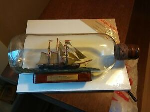 """Vintage Quality """" SEA WITCH """" Three-masted Barquentine Ship in a Glass Bottle"""