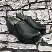 Klogs Naples Women's  Black Leather Slip On Clogs Comfort Work Shoes Size 6 M