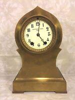 Ant Seth Thomas Brass or Bronze Case Clock Barrel Pendulum Porcelain Face Runs