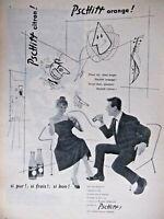 PUBLICITÉ DE PRESSE 1955 PSCHITT ORANGE ET CITRON - BRIGITTE BARDOT - KOLOS VAN