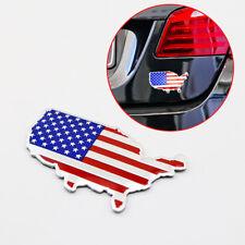 Chrome 3D Metal Car Decal Sticker American USA Map Flag Logo Badge Emblems Trim