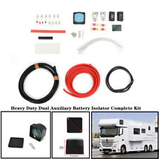 Heavy Duty Dual Auxiliary Battery Isolator Complete Kit Copper Cables &Fuses Set