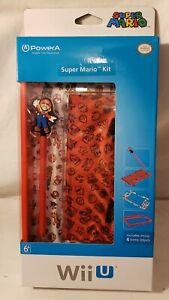 Official Nintendo WiiU SUPER MARIO KIT Skin Bundle Bumper Stylus Case New PoweA