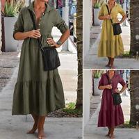 Mode Femme Ajustée Manche Couture Simple Revers Fête Ample Robe Dresse Plus