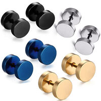 New Round Barbell Stainless Steel Screw Back Men's Earring Ear Studs 7-8MM USA