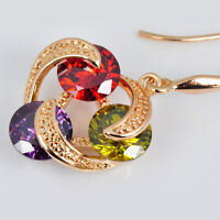 Women's Fashion Ruby/Peridot/Amethyst Drop/Dangle Hook Earrings Gold Filled Gift