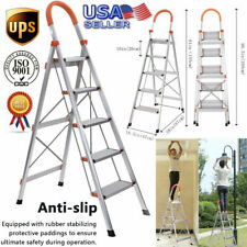 Non-slip 5 Step Ladder Folding Stool w/ Handrails Heavy Duty Stepladder Aluminum